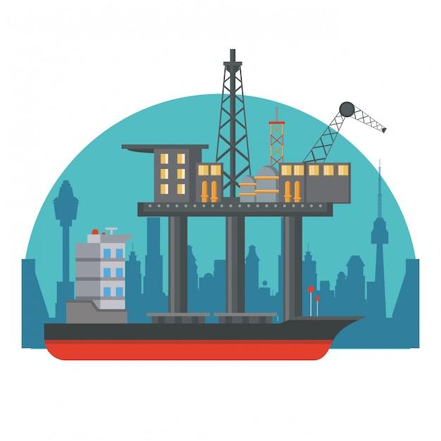 石油海のプラットフォーム Premiumベクター