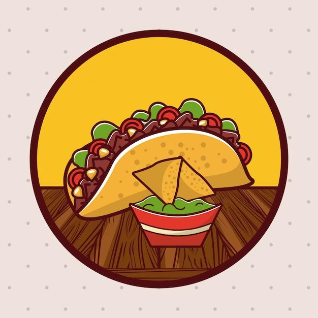 おいしいメキシコ料理美食漫画 Premiumベクター