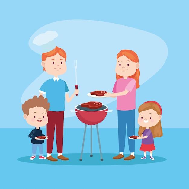 Семейные мультфильмы для родителей и детей Premium векторы