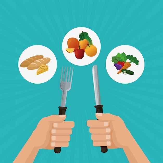 健康食品、食品、栄養関連のイラスト Premiumベクター