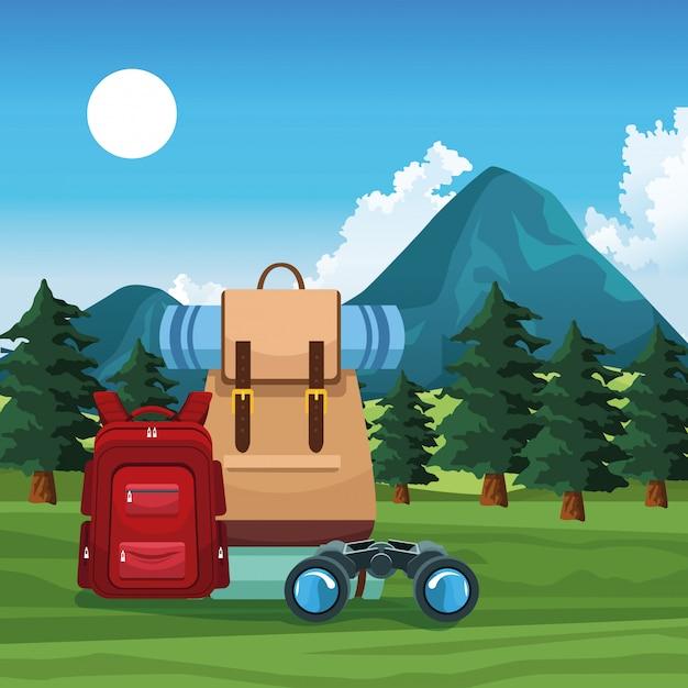 バックパックで旅行と冒険 Premiumベクター