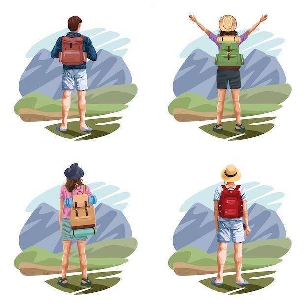 バックパック旅行者若い観光客の漫画 Premiumベクター