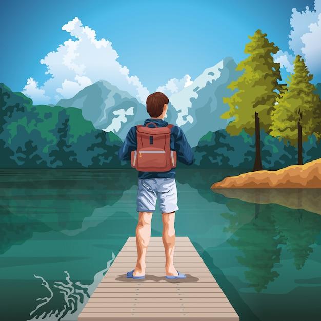 自然漫画の芸術を描くバックパック旅行者 Premiumベクター