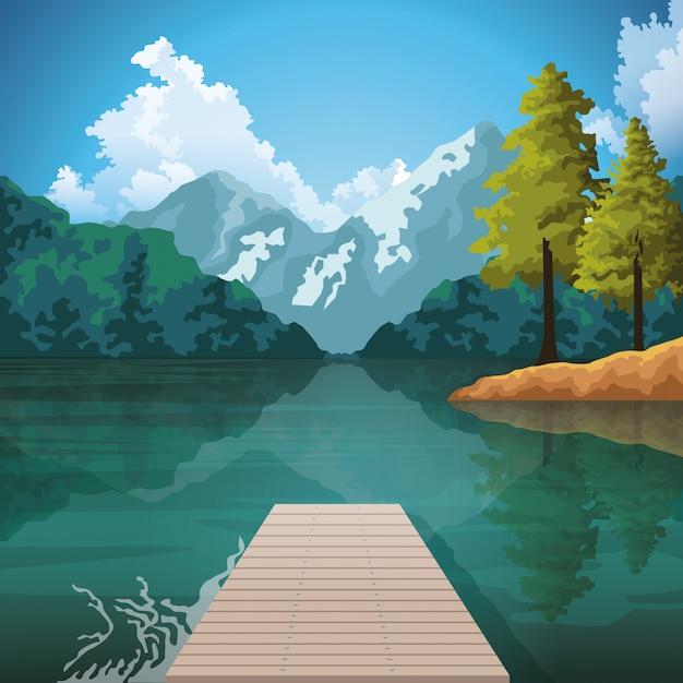 美しい自然の風景画の風景 Premiumベクター