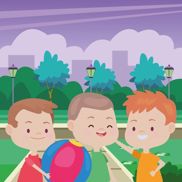 楽しんでかわいい幸せな子供 Premiumベクター