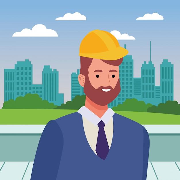 ヘルメットとひげの顔漫画の建設労働者 Premiumベクター