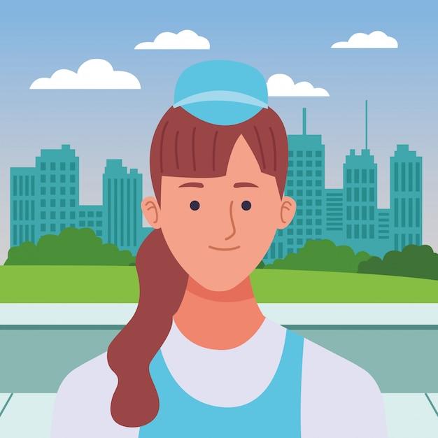 看護師女性笑顔プロファイル漫画 Premiumベクター