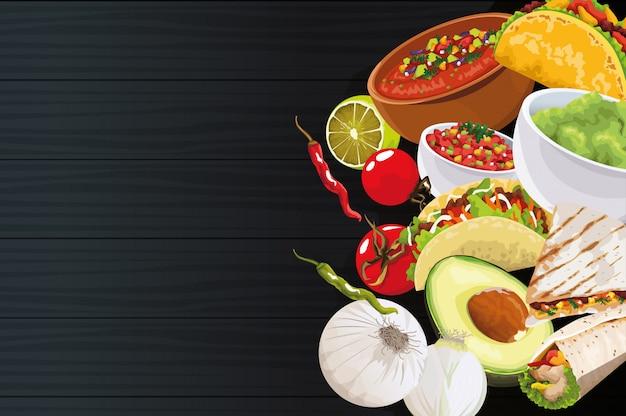 黒い背景に食材を使ったおいしいメキシコ料理 Premiumベクター