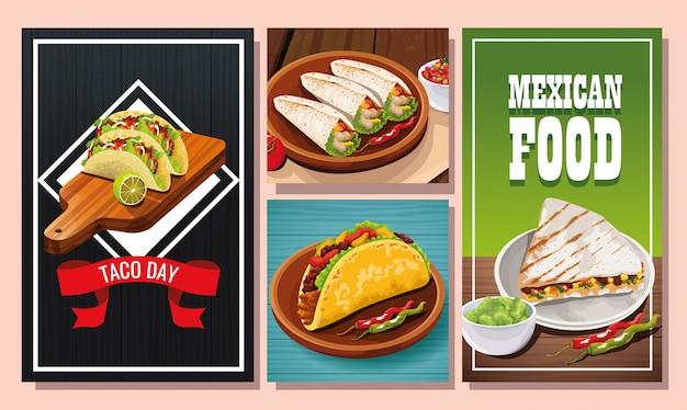 おいしいメキシコ料理セットのデザイン Premiumベクター