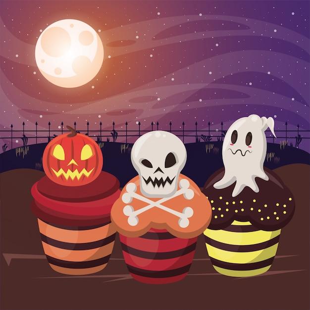 Хэллоуин темная иллюстрация со сладкими кексами Premium векторы