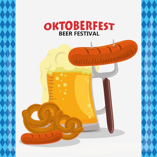 Праздник октоберфест с пивом и колбасками Premium векторы
