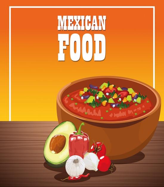 野菜サラダとメキシコ料理のポスター Premiumベクター