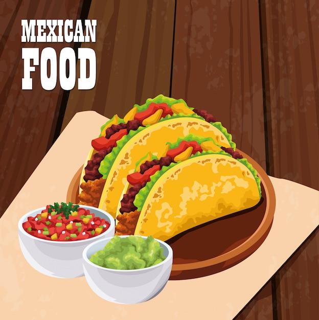 タコスとメキシコ料理のポスター Premiumベクター