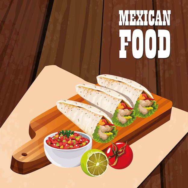 ブリトーとメキシコ料理のポスター Premiumベクター