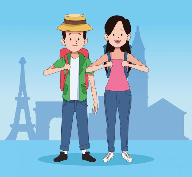 Мультяшные туристы и дизайн мировых путешествий Premium векторы