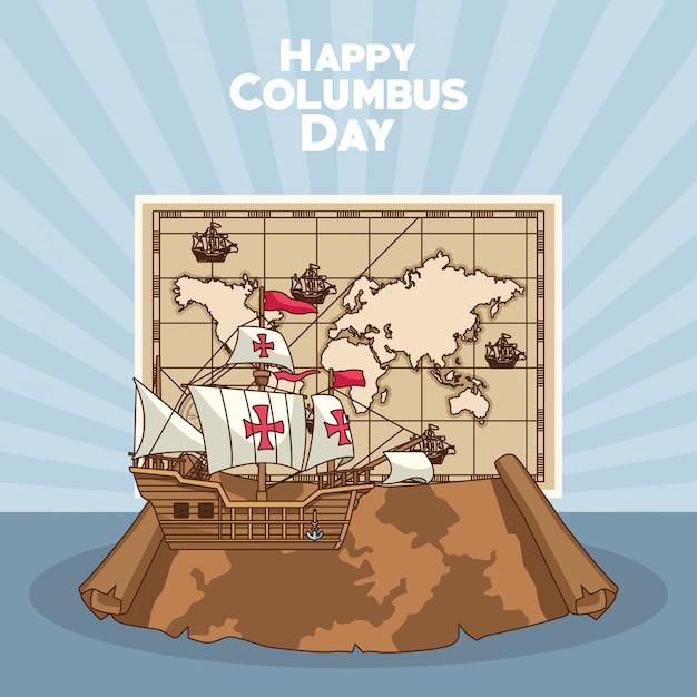 Парусный корабль, счастливый день колумба дизайн Premium векторы