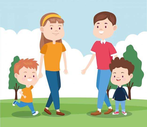 Счастливая семья со своими мальчиками в парке Premium векторы