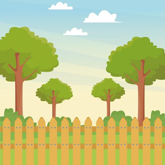 木と木製のフェンスのある公園 Premiumベクター