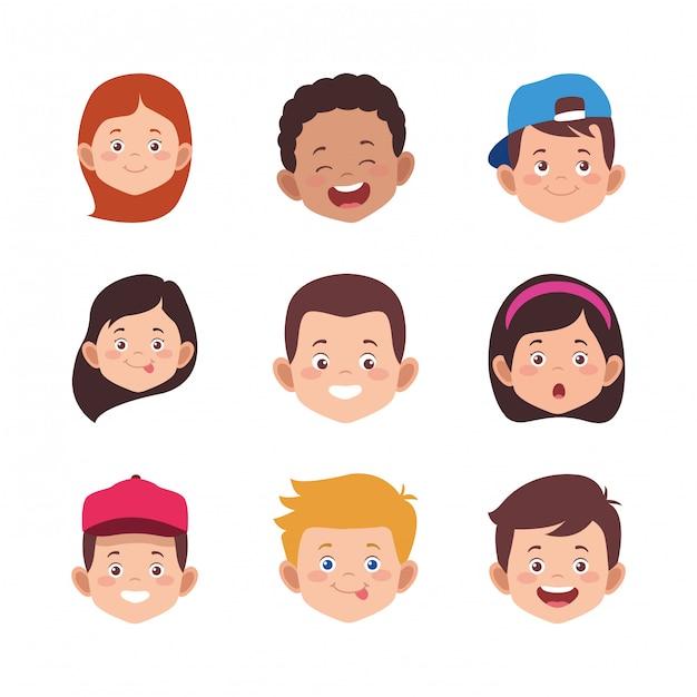笑顔の漫画の子供の顔のアイコンを設定 Premiumベクター