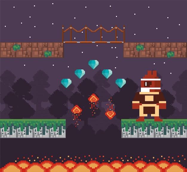 ピクセル化されたシーンのダイヤモンドを持つビデオゲームの戦士 Premiumベクター