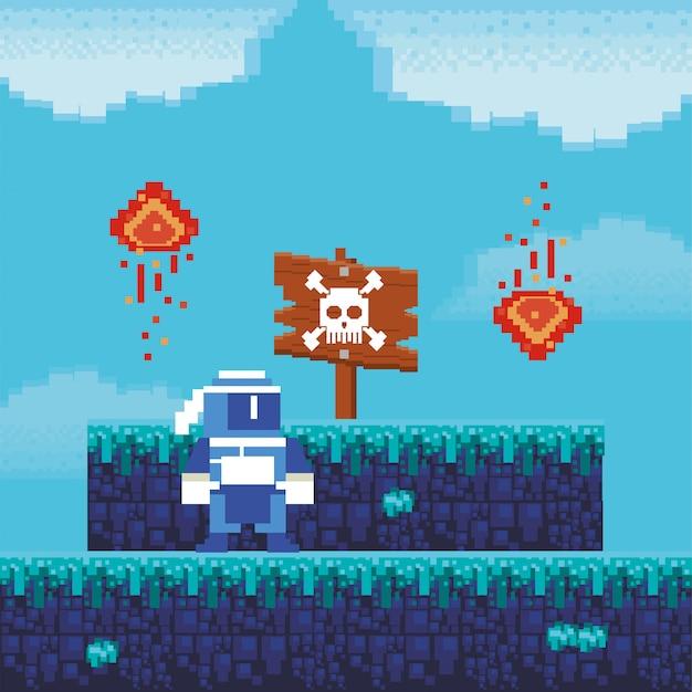 ピクセル化されたシーンの危険ラベルを持つビデオゲームの戦士 Premiumベクター