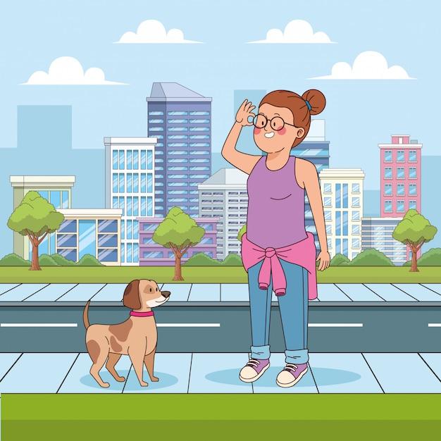 通りで犬と一緒に漫画十代の少女 Premiumベクター