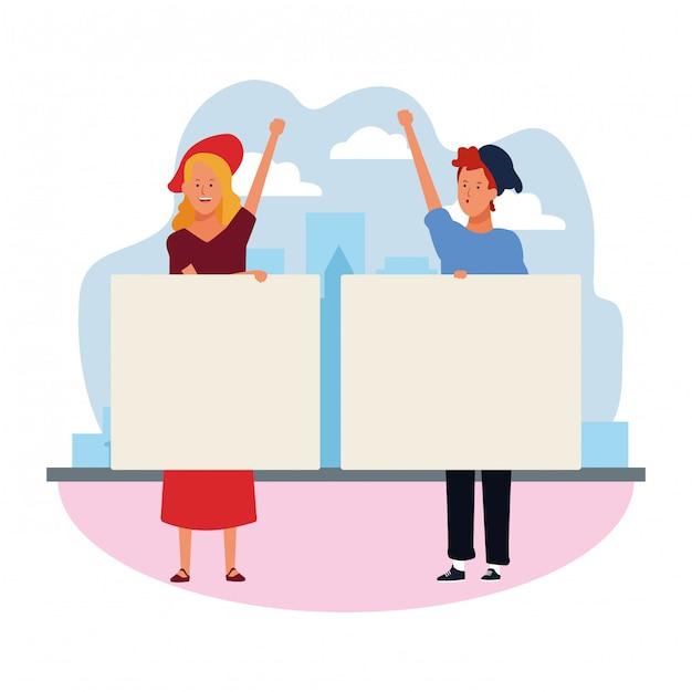 漫画の女と男の空白のプラカードで抗議 Premiumベクター