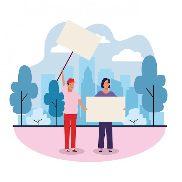 男と女の空白のプラカード Premiumベクター