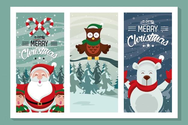 かわいいキャラクターとハッピーメリークリスマスカード Premiumベクター