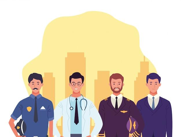医者の男、パイロット、実業家と漫画警察男 Premiumベクター