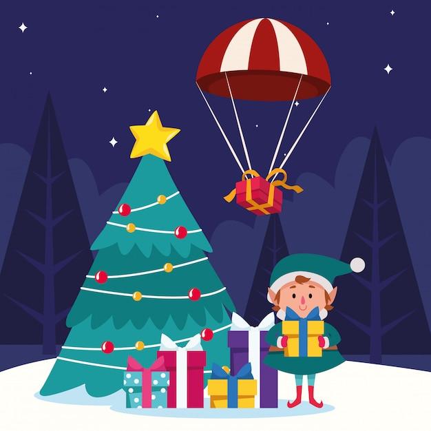 漫画のクリスマスのエルフとギフトボックスとクリスマスツリー Premiumベクター