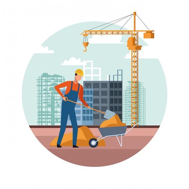 建築作業中の工事風景 Premiumベクター