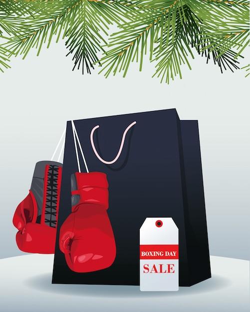 ショッピングバッグ、ボクシンググローブ、灰色の上の販売バナータグ Premiumベクター