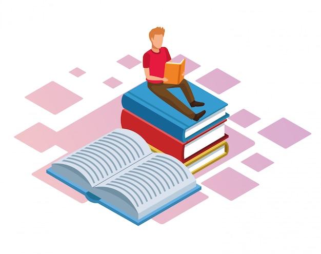 白い背景に、カラフルな等尺性の書籍のスタック上の本を読んでいる人 Premiumベクター
