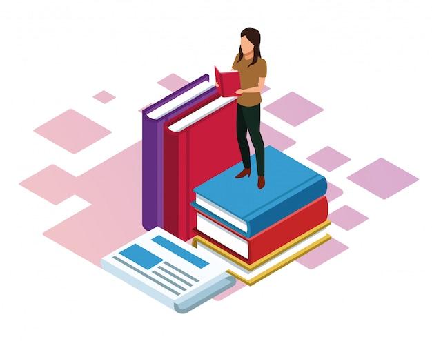 白い背景に、カラフルな等尺性の周りの本と大きな本を読む女 Premiumベクター