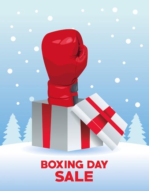 День подарков продажи плакат с перчаткой в подарок векторные иллюстрации дизайн Premium векторы