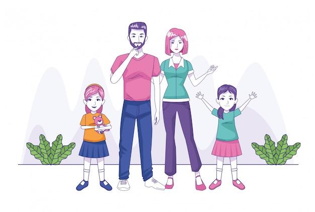両親は娘の家族キャラクターとカップルします Premiumベクター