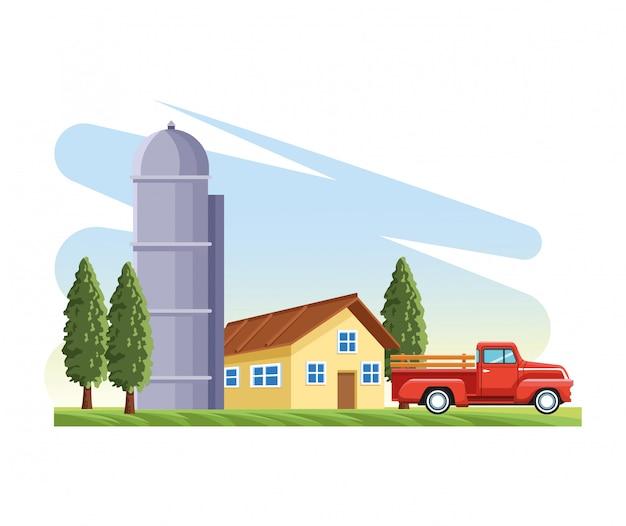 農家のサイロ倉庫ピックアップトラックの木 Premiumベクター