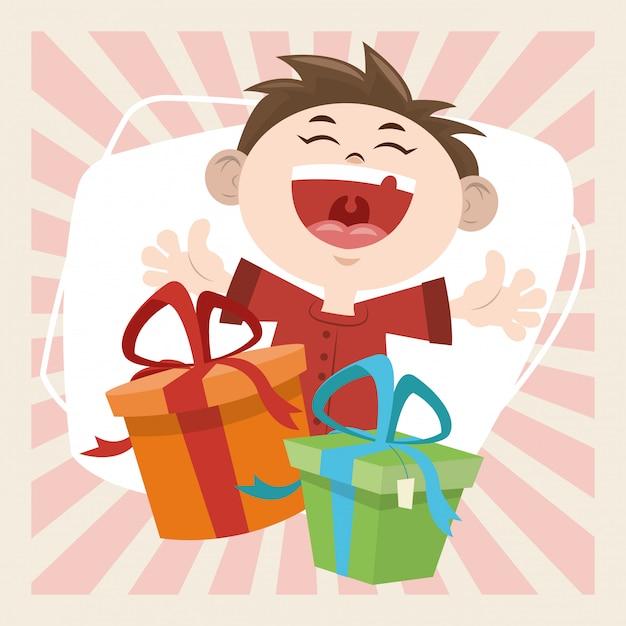 С днем рождения праздник улыбающийся мальчик с подарками Premium векторы