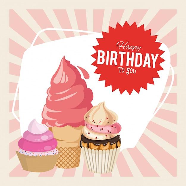 お誕生日おめでとうお祝いパーティーおいしいカップケーキとアイスクリーム Premiumベクター