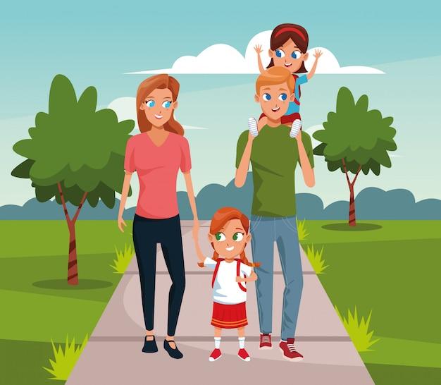 漫画の風景を小さな女の子と歩いて幸せな家族 Premiumベクター