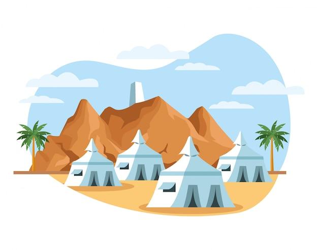 テントベクトルイラストデザインと砂漠の風景シーン Premiumベクター