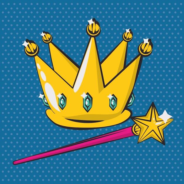 王冠と杖のポスターポップアートスタイル Premiumベクター