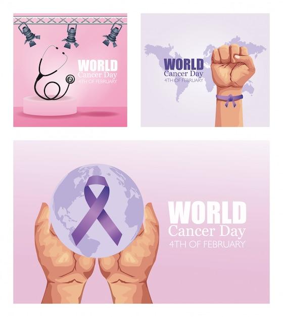 Всемирный день борьбы против рака Premium векторы