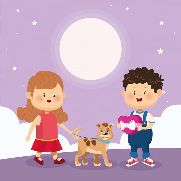 Счастливый мальчик и девочка с милой собакой Premium векторы