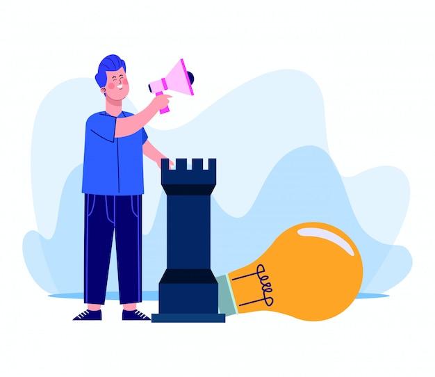 白のメガホンと大きな電球の光とチェスの駒を使用して漫画男 Premiumベクター