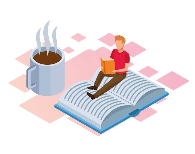 コーヒーマグカップと白の本の上に座って読んでいる人 Premiumベクター