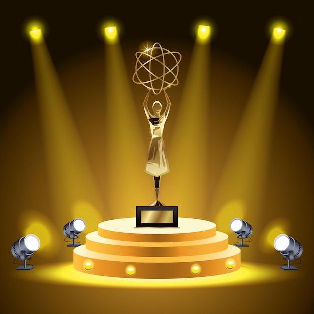 映画賞原子トロフィーを持ち上げる女性 Premiumベクター