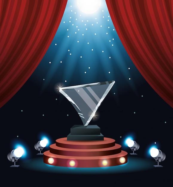 Кинопремия стеклянный треугольник трофей Premium векторы