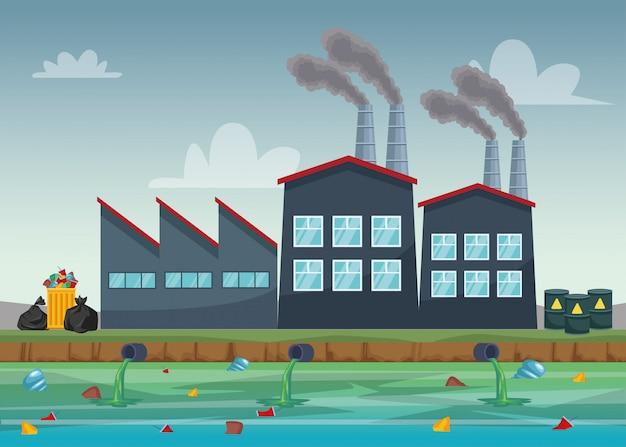 Фабричная индустрия загрязняет водную сцену Premium векторы